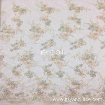 Izindwangu ze-Beige ezenziwe nge-Beaded Embroidery Flower Fabric